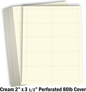 Hamilco Blank Business Cards Cardstock Paper - Cream Perforated Card Stock Heavy Weight 80 lb 3 1/2 x 2