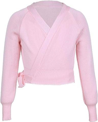 ranrann Kids Girls Long Sleeves Knit Cardigan Sweaters Ballet Dance Wrap Warm-up Top Front Tie Knot Dancewear Workout