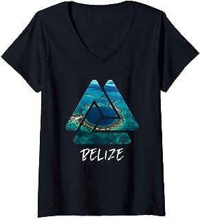 Femme Great Blue Hole Belize Cadeaux Voyage T-Shirt avec Col en V