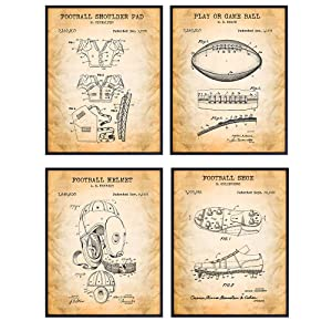 Football Patent Art Prints - Vintage Wall Art Poster Set - Chic Rustic Home Decor for Boys, Kids Teens Room, Family or Game Room, Office, Man Cave, Den - Gift for Football Players, Sports Fans - 8x10