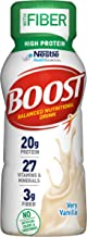 Boost High Protein with Fiber Balanced Nutritional Drink, Very Vanilla, 8 fl oz Bottle, 24 Pack