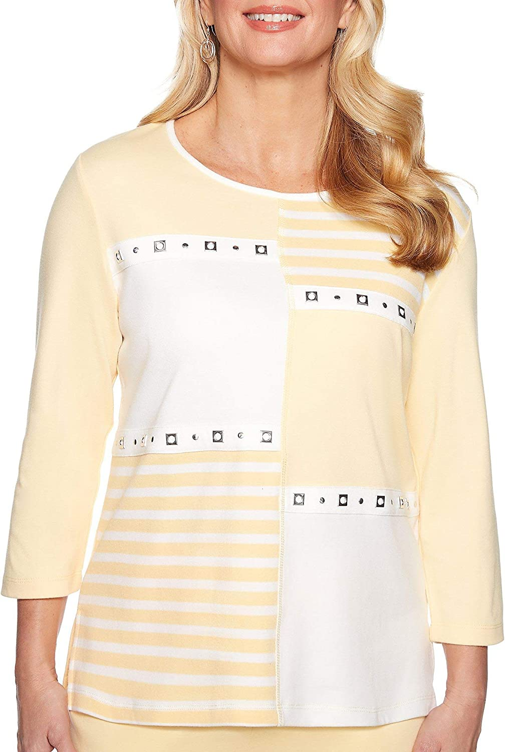 Alfred Dunner Womens Endless Weekend Stripe colorblock Top
