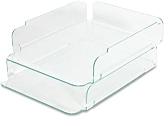 Lorell LLR80655 Stacking Letter Tray, 2 per Pack, Clear/Green