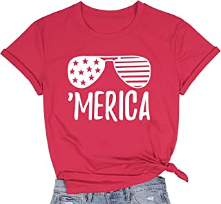 MNLYBABY American Flag T-Shirt for Women Casual Letters Print 4th of July Patriotic Graphic Tees Tops