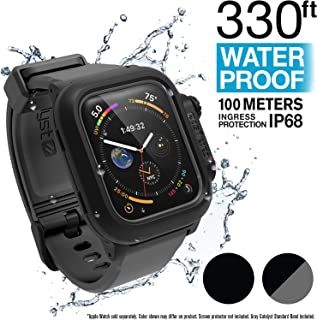 Catalyst Waterproof Apple Watch Case Series 4 44mm with Premium Soft Silicone Apple Watch Band, Shock Proof Impact Resistant [Rugged iWatch Protective case], Black/Gray