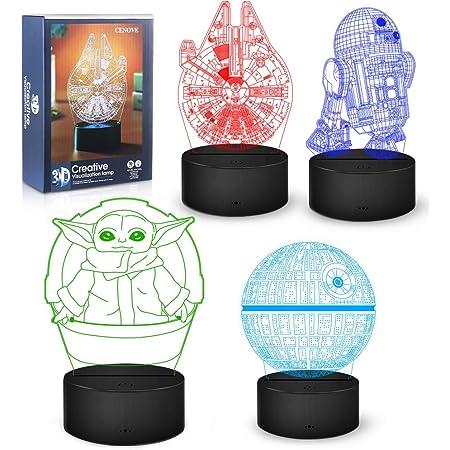 Cadeaux Lampe 3D, Veilleuse Décorative à 16 Couleurs Changeantes avec Télécommande, Cadeaux de Jouets Parfaits pour les Fans/Enfants/Hommes
