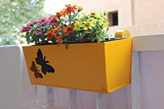 Green Gardenia Rectangular Railing Planter/Hanging Planter with Butterfly Cut-Red (Large, Yellow)