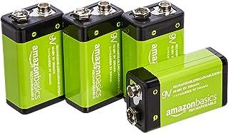9 V cell oplaadbare batterijen 200 mAh Ni-MH van Amazon Basics, verpakking van 4 stuks