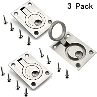 3 Pack 2.5x1.8 Inch Square Flush Pull Ring Handles,Hidden Recessed Furniture Handle,304 Stainless Steel Recessed Boat Hatch Latch Cabinet Flush Mount Lifting Ring Pull Handle