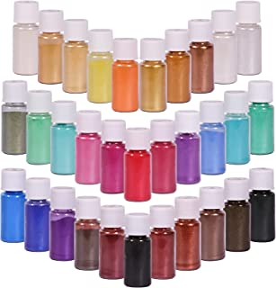 SEISSO 32 Colors Mica Powder, Mica Pigments Shimmery Powder in Jars, Epoxy Resin for Bath Bomb, Lip Gloss, Soap Making Sup...