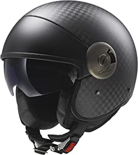 LS2 Helmets 597-1005 Cabrio Carbon Open Face Motorcycle Helmet with Sunshield (Black,  X-Large)