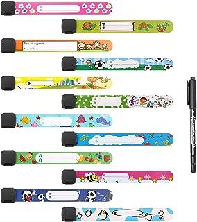 Vicloon Noodarmband voor kinderen, 12 stuks SOS-armband met 1 markeerstift, ID-armband, kindernaamarmband, waterdicht, her...