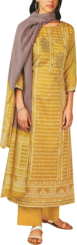 Pure Cotton Print & Zari Embroidered Long Salwar Kameez Suit with Pants & Lawn Dupatta