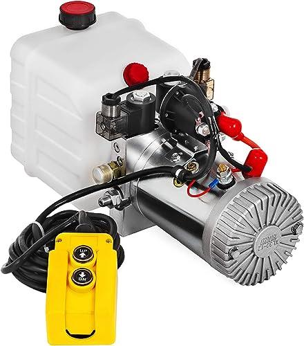 wholesale Mophorn Hydraulic Pump 3 Quart Hydraulic Power Unit Double Acting Hydraulic Pump online sale for Dump Trailer Car outlet sale Lifting 12V DC Plastic Oil Reservoir (Plastic, Double Acting) outlet sale