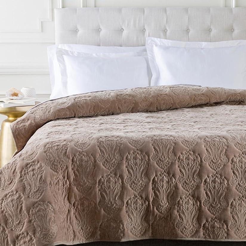 読む認識唯物論Sandyブラウン無限Indian Floral Paradise Patterned Cotton Kingキルト