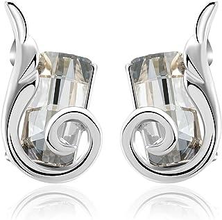 JOUDOO Woman Girl Blue Crystal Fashion Rhinestone Wing Earring Concise Stud Earrings