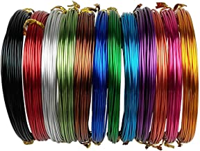 12 Rolls Aluminum Craft Wire Flexible Colorful Metal Artistic Floral Jewelry Beading Wire for DIY Jewelry Craft Making 18 Guage Each Roll 16.4 Feet