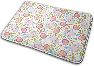 Pink Mouse and Flowers Carpet Non-Slip Welcome Front Doormat Entryway Carpet Washable Outdoor Indoor Mat Room Rug 15.7 X 23.6 inch