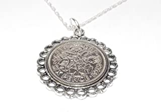 Fine Pendant 1953 Lucky Sixpence 65th Birthday Plus a Sterling Silver 18in Chain