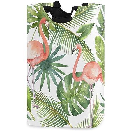 CaTaKu Panier à linge en forme de flamant rose tropical - Grande boîte de rangement étanche et facile à transporter - Pour dortoir familial, buanderie, 31 x 28 x 57 cm