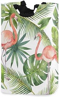 CaTaKu Panier à linge en forme de flamant rose tropical en palmier tropical Grand rangement étanche facile à transporter p...