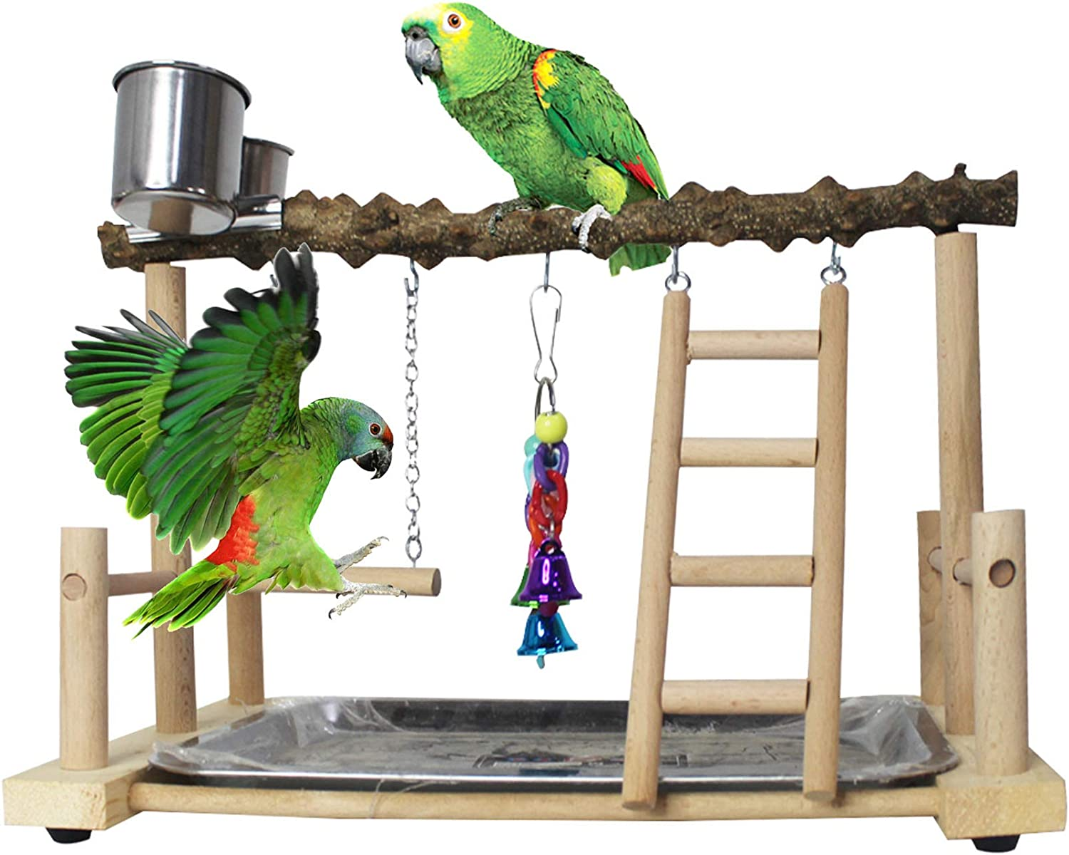 PINVNBY Bird Playground Birdcage Playstand Pet Bird Perch Platform Stand Parrot Play Gym Parakeet Cage Decor Budgie Perch Stand with Feeder Seed Cups Ladder Chew Toys for Small Animals Parrot Parakeet : Pet Supplies