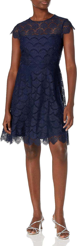kensie Women's Scallop Lace Navy Dress