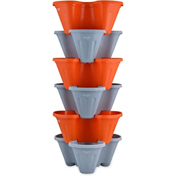 POTS4NATURE Garden Stacking Flower Pot Tower Vertical Plastic Garden Planter Vegetable Flower Strawberry Planter Pot Indoor/Outdoor 6 Tier Gardening Tower for Grow Fresh Herbs - Orange and Grey