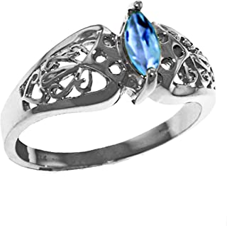 14k Gold Filigree Ring with natural Marquis-Shaped Blue Topaz