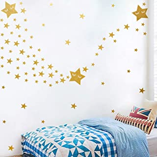159pcs Multi Size Gold Star Stickers Wall Decal, Removable Easy Paste Vinyl Wall Stickers for Kids Boy Girls Room Decorati...