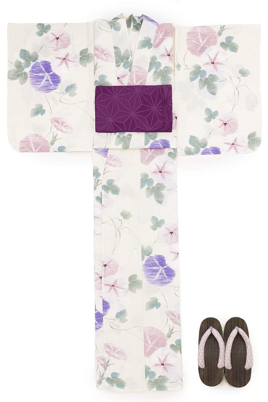 (ソウビエン) 浴衣 セット レディース 白系 アイボリー ペールピンク 緑色 朝顔 花柄 綿麻 半幅帯 マクレ ボヌールセゾン