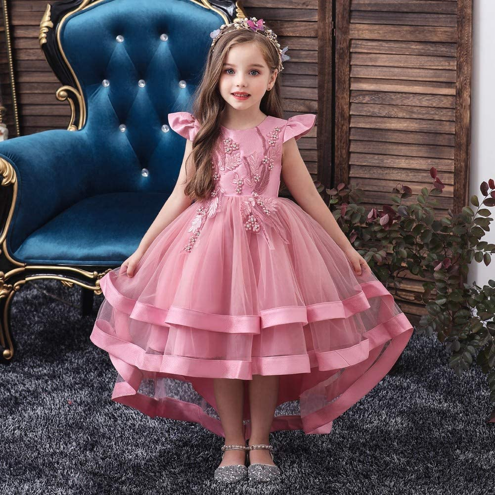 Wedding Flower Girls High Low Dresses For Kids Pageant Birthday Communion Party