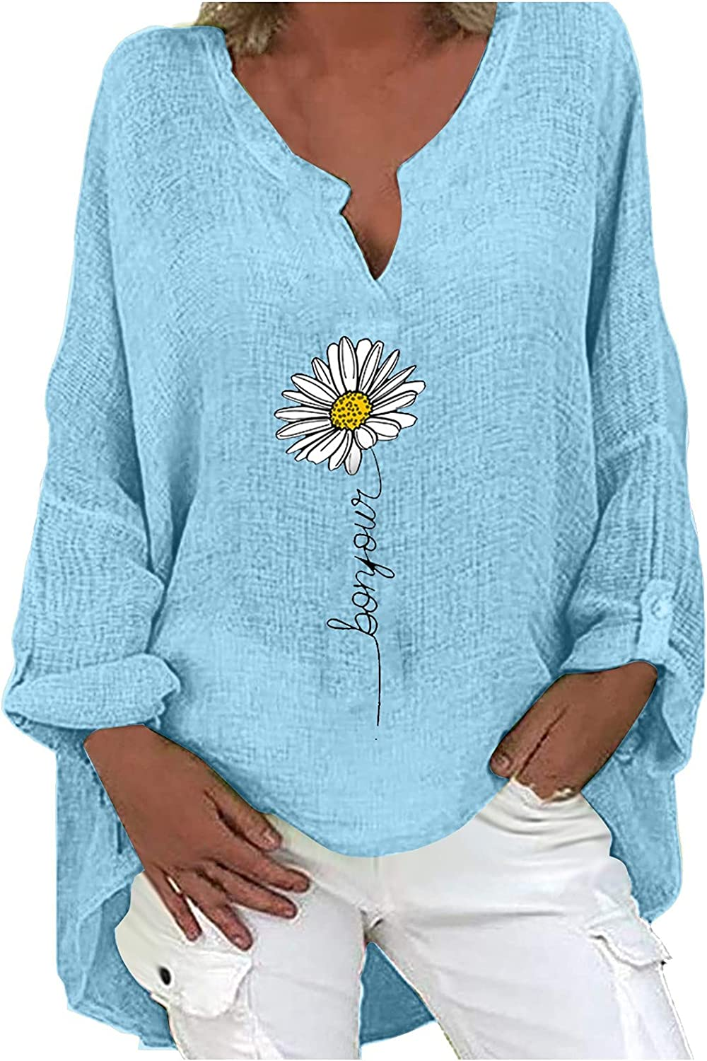 Casual Womens Tops Daisy Printing Blouses V-Neck Long Sleeve T-Shirts Plus Size Loose Cotton and Linen Tees