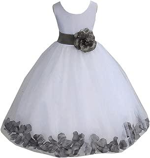 white and grey flower girl dresses