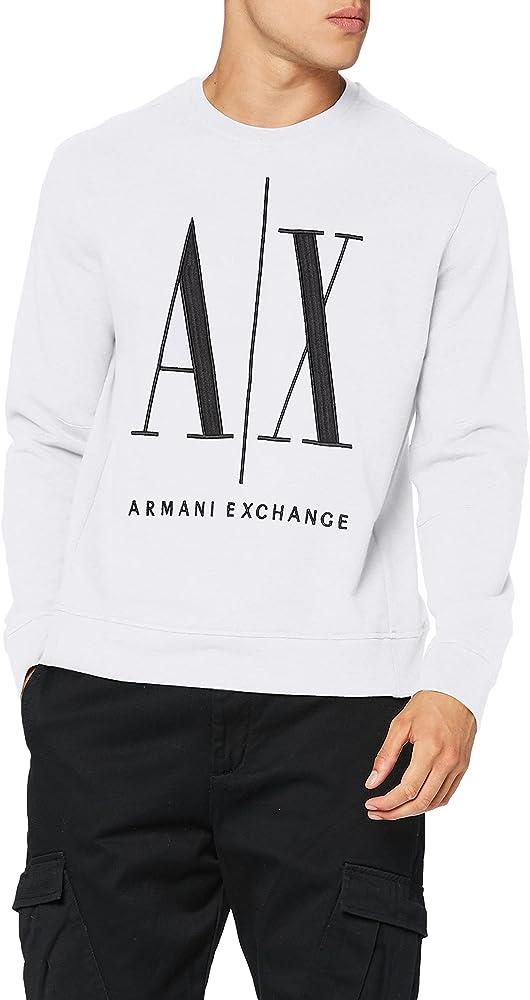 Armani exchange icon sweat felpa per uomo 100% cotone 8NZMPAZJ1ZZ1