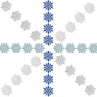 Zhehao 32 Pieces 4 Inch Christmas Glitter Snowflake Hanger Plastic Snowflake Ornaments and Silvery Cords for Christmas Decoration, White/Blue/Silver/Turquoise
