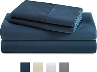 TRIDENT Full Sheets, 400 Thread Count Sheet Set, 100% Cotton Sateen Weave, Moisture Wicking, Wrinkle Resistant, 4 Piece Sheet Set, Techno-fit, Soft, Air Rich Technology (Sea Blue, Full)