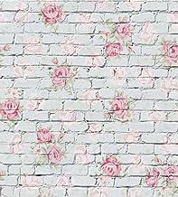 Rosa Flor pintada en gris ladrillo pared fondo para estudio de fotografía Vintage papel pintado sin costuras fondo para estudio fotográfico recién nacidos Niños 5x 7ft