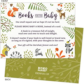 Woodland Baby Shower Book Request Cards with Owl and Forest Animals. Pack of 50. Gender-Neutral, Unisex Design Suitable for Boy or Girl.