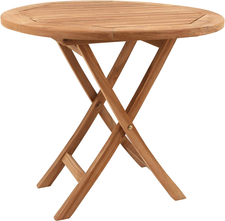 Conjunto de jard/ín Mesa Redonda y sillas Plegables en Teca Sillas X 2 /Ø 80 x 75 cm BENEFFITO SALENTO 4 Personas