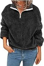 $20 » Letdown Accessories Women Solid Color Sweatshirts Long Sleeve Comfy Soft Lightweight Ladies Zip Up Mock Neck Pullovers Top...