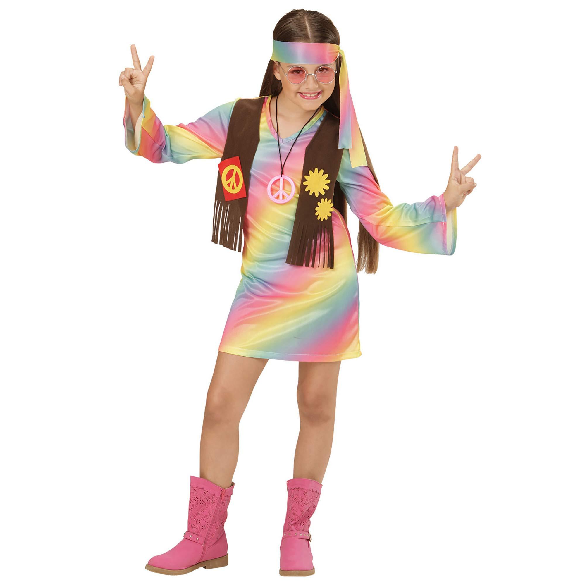 WIDMANN 73358 ? Disfraz de hippie Chica vestido angenähte Chaleco ...