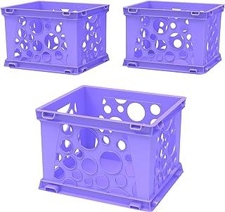 Storex Mini Crate, 9 x 7.75 x 6 Inches, Neon Purple, Case of 3 (STX61585U03C)