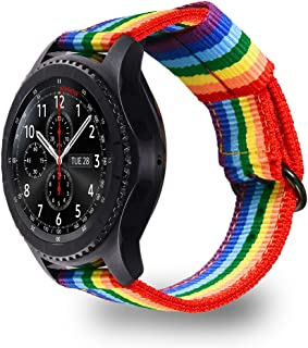 Bandmax Compatible Samsung Gear S3/ Frontier Band Nylon,22MM Rainbow Samsung Gear S3 Sport Band Strap Smartwatch Replacement Wristband Accessories with Movable Loop Compatible Samsung Gear S3