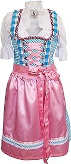 Alpenmärchen 3tlg. Dirndl-Set - Trachtenkleid, Bluse, Schürze, Gr.32-60, blau-rosa, ALM3062