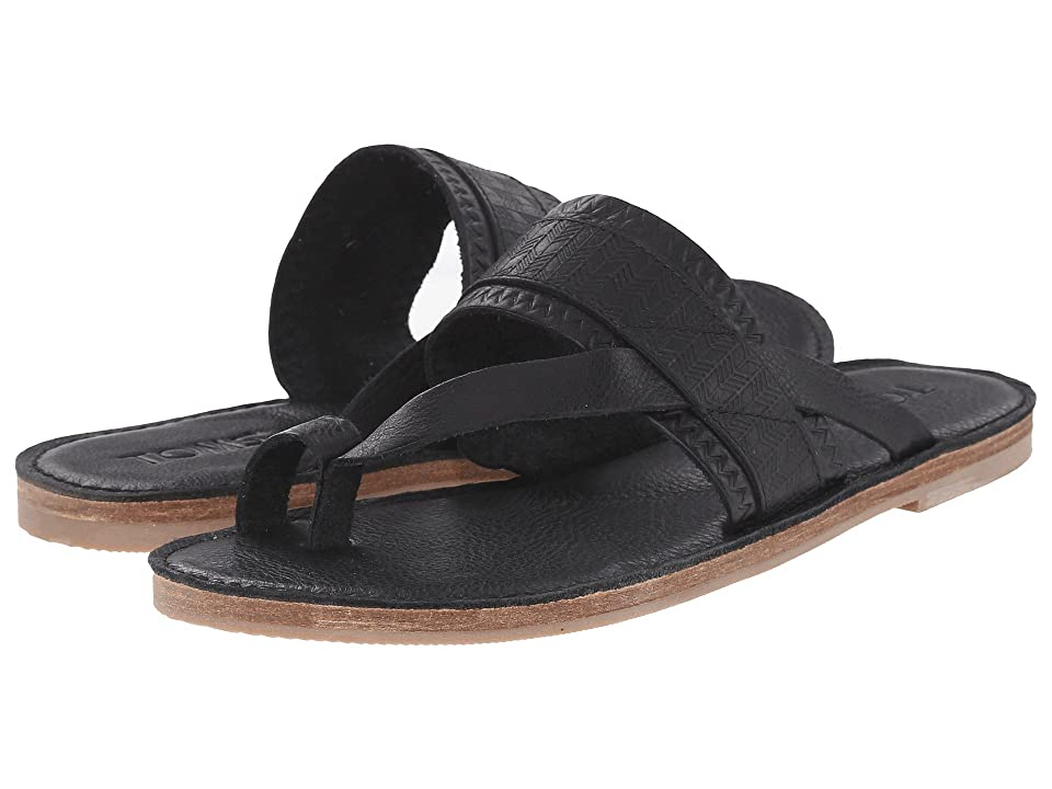 TOMS Isabella Sandal (Black Full Grain Leather Embossed) Women