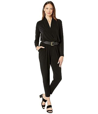 MICHAEL Michael Kors Long Sleeve Belted Jumpsuit (Black) Women