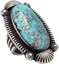 Calvin Martinez, Ring, Morenci Turquoise, Old Style, Silver, Navajo Handmade, 10