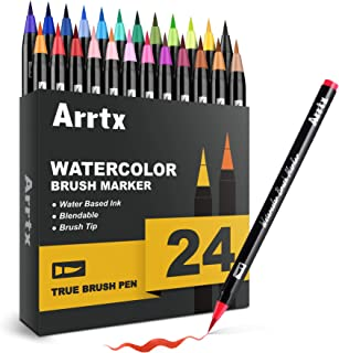 Arrtx Brush Pens, 24 Colors Water Based Paint Markers with Flexible Brush Tips, Professional for Watercolor Coloring, Call...