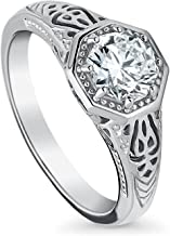 BERRICLE Rhodium Plated Sterling Silver Art Deco Milgrain Promise Ring Made with Swarovski Zirconia